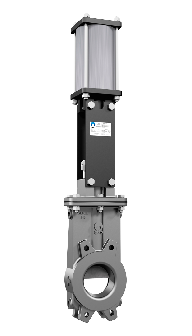 Unidirectional wafer‐design knife gate valve.